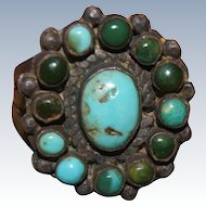 "Fine Zuni Cluster Ring With ""Snake Eyes"" Turquoise Stones"