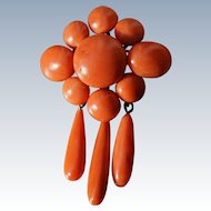 Large Victorian Coral Cluster Drop Brooch