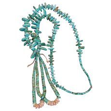 Traditional Navajo Turquoise Ceremonial Necklace With Jacla