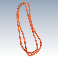 Antique Red Coral Tube Bead Necklace