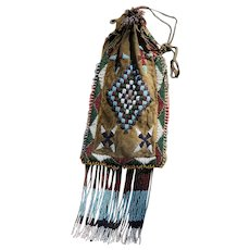 Antique Apache Indian Beaded Bag