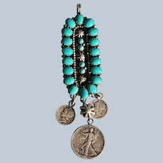 Betty Yellowhorse Turquoise Coin Pendant