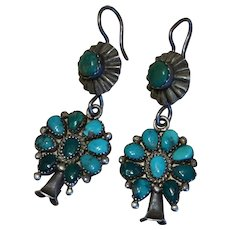 Vintage Turquoise Squash Blossom Earrings