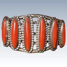 Vintage Coral Cuff Bracelet