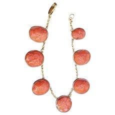 Victorian Coral Cameo Bracelet