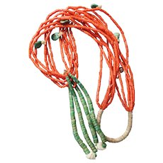 Coral Ceremonial Necklace With Jacla