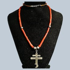 Coral Tube Bead Dragonfly Cross Necklace