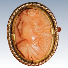 Victorian Coral Cameo Ring