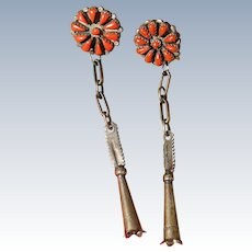 Vintage Coral Cluster Squash Blossom Earrings
