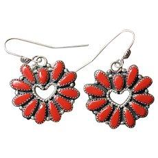Vintage Coral Heart Earrings