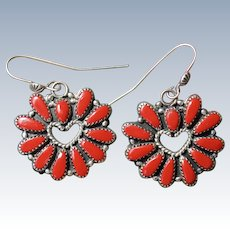 Vintage Coral Heart Earrings