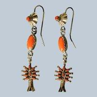 Vintage Coral Zuni Earring