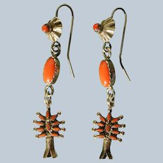 Vintage Coral Zuni Earring