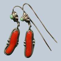 Vintage Oxblood Coral Earrings