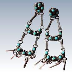 Vintage Petit Point Turquoise Earrings