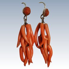 Antique Branch Coral Earrings