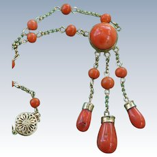 Vintage Orange Coral Necklace