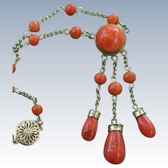 Vintage Orange Coral Necklace