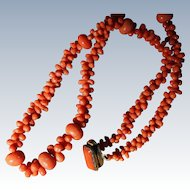 Antique Coral Dog Bone Necklace