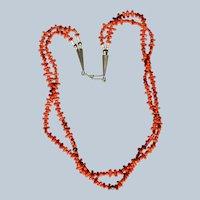 Vintage Mediterranean Coral Branch Bead Necklace