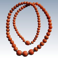 Orange Coral Necklace With Diamond Spacers
