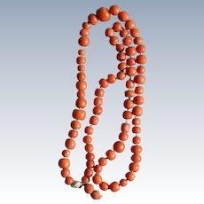 Victorian Orange Coral Necklace 79.1 Grams