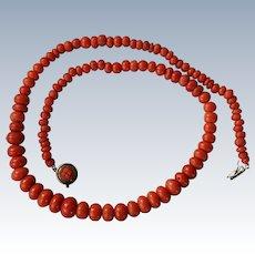 Antique Coral Rondelle Bead Necklace