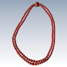 Victorian Coral Necklace With High Profile Cameo Clasp