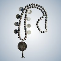 Mercury Dime Squash Blossom Morgan Dollar Pendant Necklace