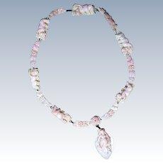 Antique Angel Skin Carved Coral Necklace