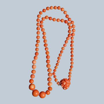 Vintage Orange Coral Necklace With Carved Coral Rose Clasp