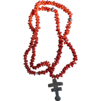 Double Cross Pendant Necklace Coral Beads