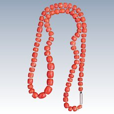 Antique Faceted Coral Necklace 49 Grams