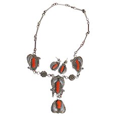 Vintage Coral Necklace With Matching Earrings