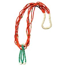 Mediterranean Coral Tube Necklace With Jacla