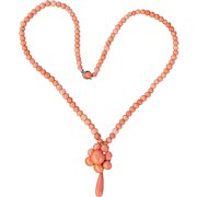Victorian Coral Cluster Pendant Necklace