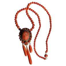 Coral Cameo Pendant Necklace With Coral Drops