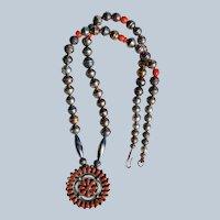 Vintage Zuni Coral Pendant Necklace