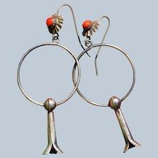 Vintage Squash Blossom Hoop Earrings