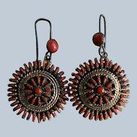 Vintage Zuni Mediterranean Red Coral  Earrings