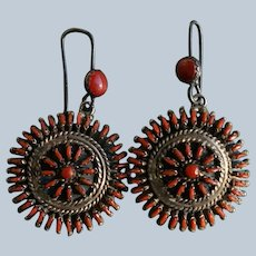 Vintage Zuni Mediterranean Red Coral  Earrings