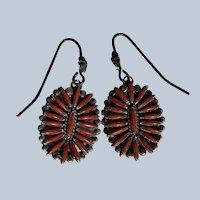 Vintage Zuni Coral Earrings