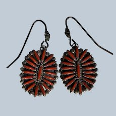 Vintage Zuni Coral Earrings