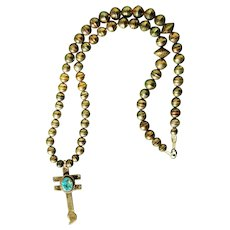 Vintage Turquoise Dragonfly Cross Necklace