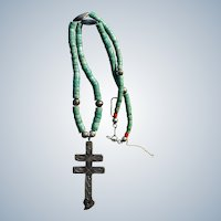 Vintage Dragonfly Cross Pendant With Turquoise Heishi Necklace