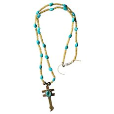 Navajo Dragonfly Cross Pendant Necklace