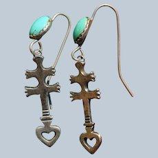 Vintage Navajo Dragonfly Cross Earrings