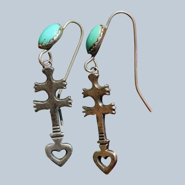 Vintage Navajo Dragonfly Cross Earrings
