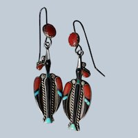 Vintage Zuni Peyote Bird Earrings