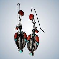 Vintage Zuni Peyote Bird Earrings